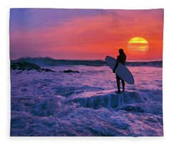 Surfer On Rock Looking Out From Blowing Rocks Preserve On Jupiter Island Fleece Blanket