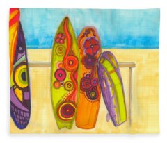 Surfing Buddies - Surf Boards At The Beach Illustration Fleece Blanket