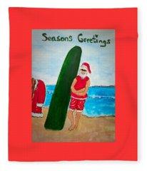Surfing Santa Fleece Blanket