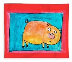 Surprised Pig Fleece Blanket