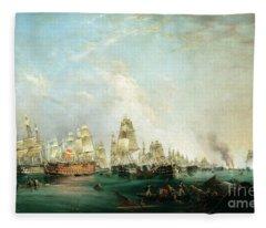 Surrender Of The Santissima Trinidad To Neptune The Battle Of Trafalgar Fleece Blanket
