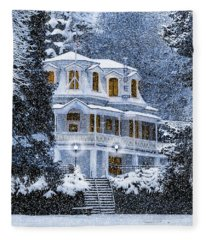 Susanville Elks Lodge At Christmas Fleece Blanket