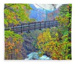 Suspension Bridge At Tallulah Gorge Fleece Blanket