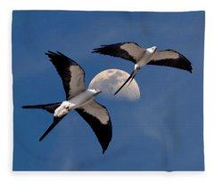 Swallow Tail Kites In Flight Under Moon Fleece Blanket