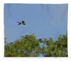 Swallow-tailed Kite Flyover Fleece Blanket