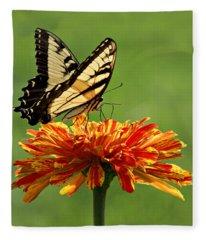 Swallowtail Butterfly - Zinnia Fleece Blanket
