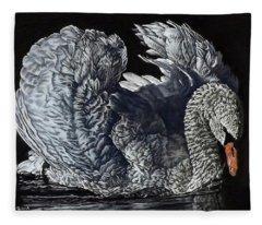 Swan #2 Fleece Blanket