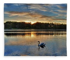 Swan At Sunset Fleece Blanket