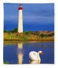 Swan At The Lighthouse Fleece Blanket