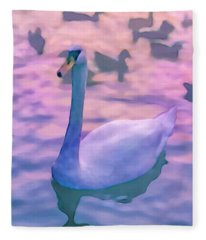 Swan At Twilight Fleece Blanket