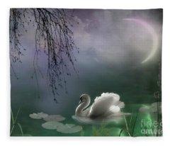Swan By Moonlight Fleece Blanket