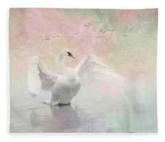 Swan Dream - Display Spring Pastel Colors Fleece Blanket