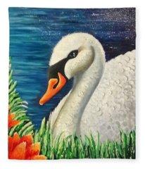 Swan In Pond Fleece Blanket