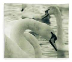 Swan In Water Fleece Blanket