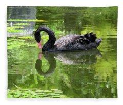 Swan Of Hearts Fleece Blanket