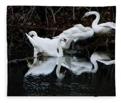 Swans And Snow Geese Fleece Blanket