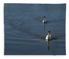 Swans On Deep Blue Fleece Blanket