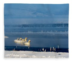 Swans On The Lake Fleece Blanket