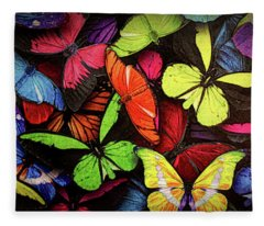 Swarm Of Butterfles  Fleece Blanket