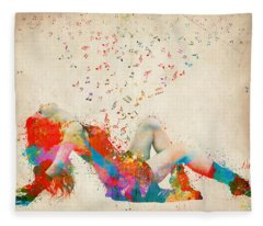 Sweet Jenny Bursting With Music Fleece Blanket