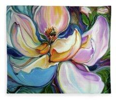 Sweet Magnoli Floral Abstract Fleece Blanket