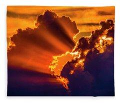 Sweet Nebraska Crepuscular Rays 010 Fleece Blanket