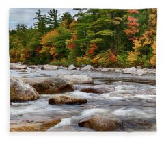 Swift River Runs Through Fall Colors Fleece Blanket