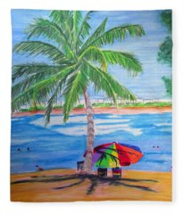 Swimming In Jobo Beach Fleece Blanket
