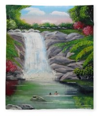 Swimming In Paradise Fleece Blanket