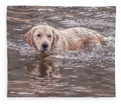 Swimming Puppy Fleece Blanket