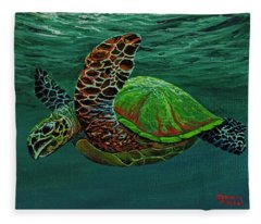 Fleece Blanket featuring the painting Swimming With Aloha by Darice Machel McGuire