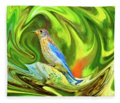Swirling Bluebird  Fleece Blanket