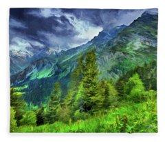 Swiss Countryside Fleece Blanket