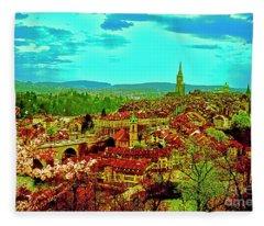 Switzerland Bern City View Matte Aare River    Fleece Blanket