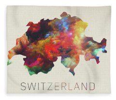 Switzerland Watercolor Map Fleece Blanket