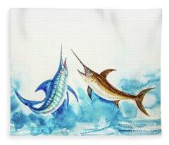 Swordfish And Marlin Pair  Fleece Blanket
