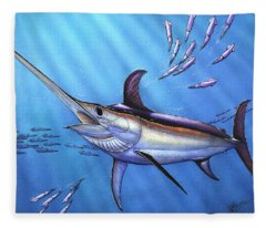 Swordfish In Freedom Fleece Blanket