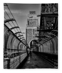 Sydney Harbor Bridge Bw Fleece Blanket