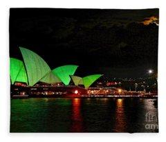 Sydney Opera House Vivid Festival Australia Fleece Blanket
