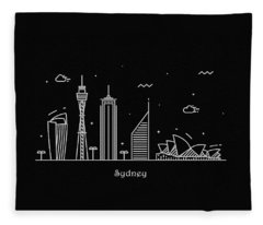 Sydney Skyline Travel Poster Fleece Blanket