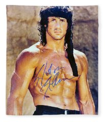 Sylvester Stallone Fleece Blanket
