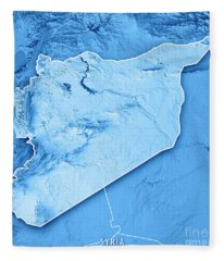 Syria Country 3d Render Topographic Map Blue Border Fleece Blanket