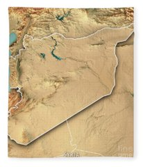 Syria Country 3d Render Topographic Map Border Fleece Blanket