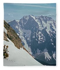 T-04402 Fred Beckey And Joe Hieb After First Ascent Forbidden Peak Fleece Blanket