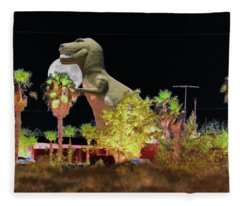 T-rex In The Desert Night Fleece Blanket