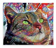 Tabby Cat Color Blast Fleece Blanket