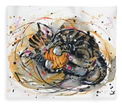 Tabby Kitten Playing With Yarn Clew  Fleece Blanket