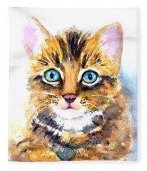Tabby Kitten Watercolor Fleece Blanket