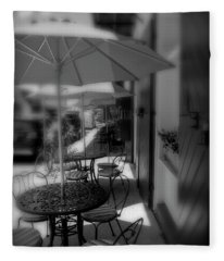 Table At New Orleans' French Market In Black And White Fleece Blanket