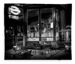 Tables At Night In Black And White Fleece Blanket